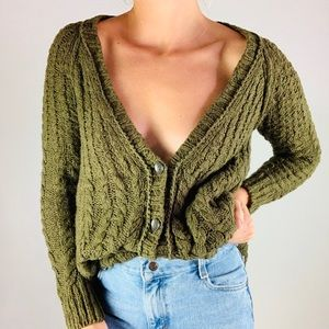 FREE PEOPLE Cotton Olive Oversize Cardigan Sweater